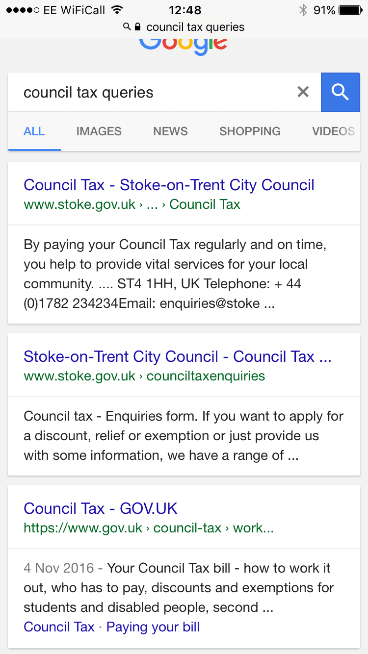 Secondly, something far more mundane; 'Council Tax Queries